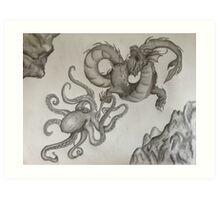 Battle of the Sea Creatures  Art Print