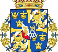 Greater Coat of Arms of Sweden Without Ermine Mantlingm Compartment & Supporters by abbeyz71