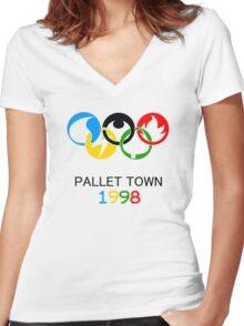 Pokemon Olympics Pallet Town 1998 Women's Fitted V-Neck T-Shirt