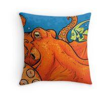 An Enormous Orange Octopus Throw Pillow