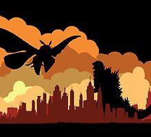 Godzilla versus Mothra cityscape by KAMonkey