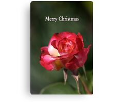 merry christmas- red-white-rose Canvas Print