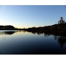 Indian summer sunset at the fishing lake IV | waterscape photography Photographic Print