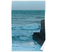 Rough Sea and Jetty at Dusk Poster