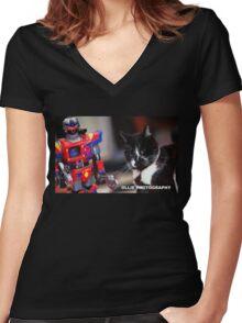Bill V's Machine Women's Fitted V-Neck T-Shirt
