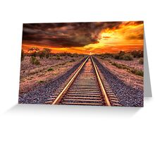 Train track to sunset Greeting Card
