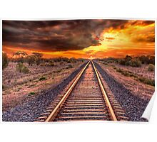 Train track to sunset Poster