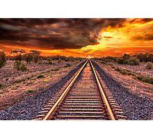 Train track to sunset Photographic Print