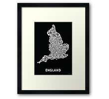 England Poster - White on Black Framed Print