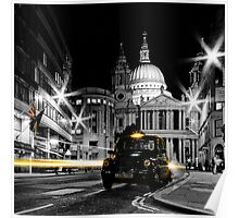 St Pauls London with Black cab Poster