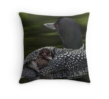 Loon and Chick - Little Sebago Lake, Maine Throw Pillow
