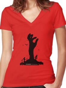 Zombie Hand Women's Fitted V-Neck T-Shirt
