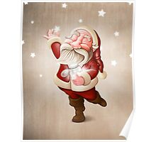 Santa Claus collects stars Poster