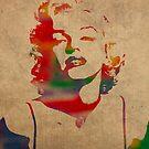 Marilyn Monroe Watercolor on Worn Canvas by designturnpike