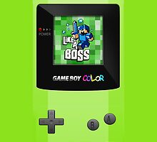 Classic Retro Green gameboy with 8 bit game by Johnny Sunardi