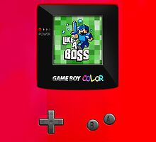 Classic Retro red gameboy with 8 bit game by Johnny Sunardi