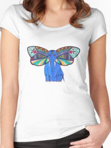 Elephant Butterfly  Women's Fitted Scoop T-Shirt