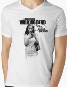 CELLPHONE WALKING DEAD Mens V-Neck T-Shirt