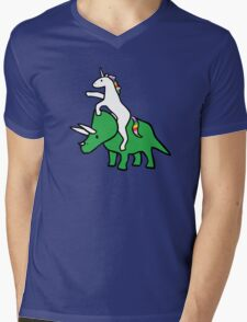 Unicorn Riding Triceratops Mens V-Neck T-Shirt