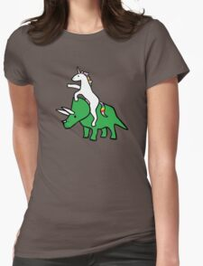 Unicorn Riding Triceratops Womens Fitted T-Shirt