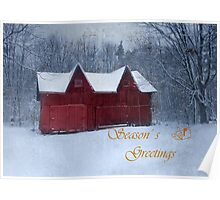 Winter Barn Season's Greeting Poster