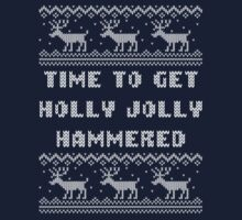 Time To Get Holly Jolly Hammered Christmas Sweater by xdurango