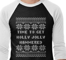 Time To Get Holly Jolly Hammered Ugly Sweater Men's Baseball ¾ T-Shirt