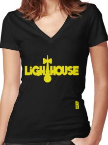 Lighthouse, yellow Women's Fitted V-Neck T-Shirt