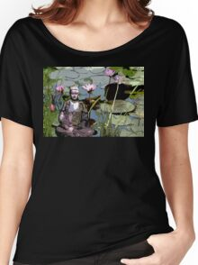 Buddha with pink water lilies. Women's Relaxed Fit T-Shirt
