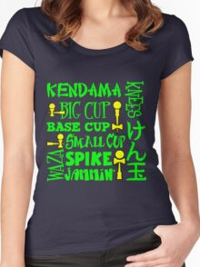 Kendama Word Block, neon green Women's Fitted Scoop T-Shirt