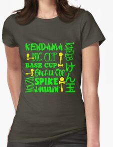 Kendama Word Block, neon green Womens Fitted T-Shirt