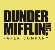 Dunder Mifflin Logo- B/W Kids Tee