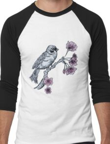 Bird and Cherry Blossoms Men's Baseball ¾ T-Shirt