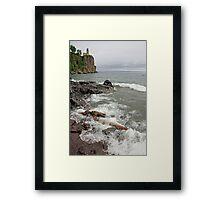 Waves and Split Rock Framed Print