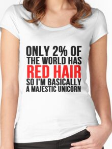 RED HAIR MAJESTIC UNICORN Women's Fitted Scoop T-Shirt