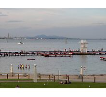 A warm evening & Blue Hour, Geelong Waterfront. Vic. Photographic Print