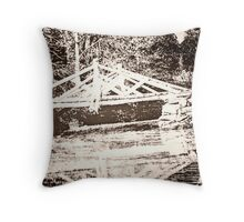 Photo of a Photo of the Original Headless Horseman Bridge, Sleepy Hollow, NY Throw Pillow