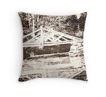 Photo of a Photo of the Original Headless Horseman Bridge, Sleepy Hollow, NY Throw Pillow