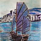 Chinese Junk Hong Kong Harbor 1969 by David M Scott