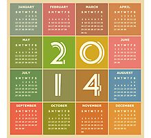 Year 2014 Calendar in Retro Style and Colors Photographic Print