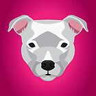 White Staffordshire Bull Terrier by threeblackdots