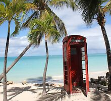 Red public Telephone Booth on Antigua by stine1