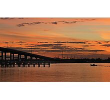 sunset boating Photographic Print