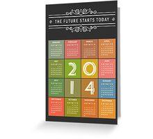 Retro Chalkboard 2014 Calendar Greeting Card