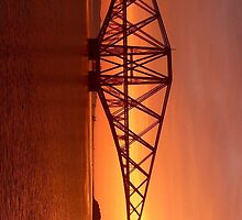 Forth Rail Bridge (Large) Orange Sunrise.   by LBMcNicoll