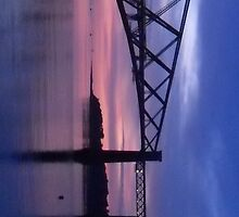 Forth Rail Bridge (Large) Purple Sunrise by LBMcNicoll