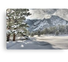 The Flatirons In A Gown of White Metal Print