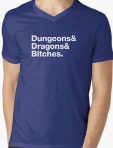 Dungeons & Dragons & Bitches (Helvetica) Mens V-Neck T-Shirt