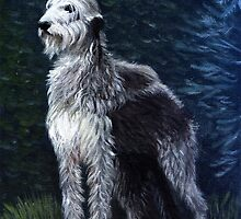 Irish Wolfhound Dog Portrait by Oldetimemercan