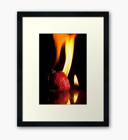 Flaming Stawberry Framed Print
